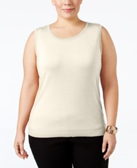 August Silk Plus Size Sleeveless Shell Bavarian Cream