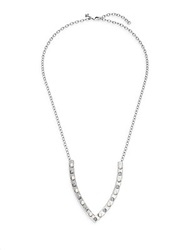 Rebecca Minkoff Faux Pearl And Stud V Pendant Necklace Silver