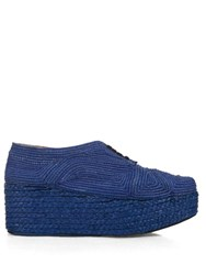 Robert Clergerie Pinto Woven Raffia Lace Up Flatform Shoes Blue