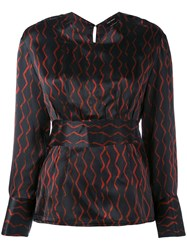 Isabel Marant Patterned Blouse Women Silk 40 Black