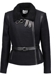 Iro Cloud Shearling And Leather Trimmed Cotton Jacket Black