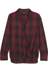 Madewell Checked Voile Blouse Burgundy