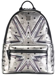 Mcm High Shine Printed Backpack Metallic