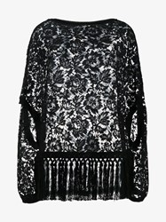 Valentino Floral Lace Fringed Cape Top Black