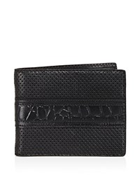 John Varvatos Star Usa Perforated Leather Bifold Wallet Black