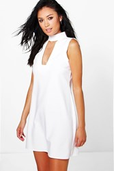Boohoo High Neck Cut Out Sleeveless Shirt Dress White