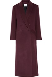 Pallas Double Breasted Wool And Cashmere Blend Coat Burgundy