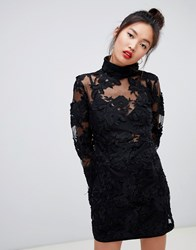 Daisy Street High Neck Mini Dress In Lace Black