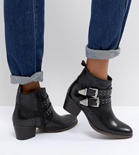 Office Alexia Black Leather Western Ankle Boots