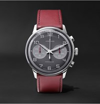 Junghans Meister Driver Chronoscope Stainless Steel And Leather Watch Burgundy