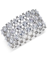 Carolee Silver Tone Crystal Hinged Cuff Bracelet Lt White