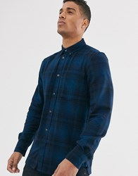 French Connection Tonal Flannel Check Shirt Blue