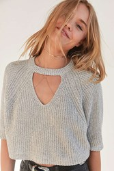 Silence And Noise Maddie Cutout Cropped Sweater Dark Grey