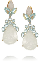 Bounkit 24 Karat Gold Plated Moonstone And Quartz Clip Earrings Net A Porter.Com