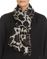 Aqua Wool Animal Print Scarf 100 Exclusive Gray Black