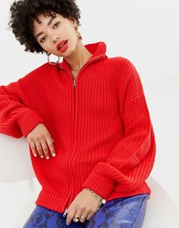 Na Kd Knitted Zip Cardigan In Red