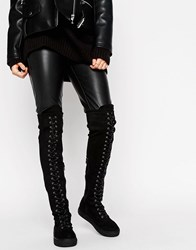Truffle Collection Flat Over Knee Lace Up Boot Black Stretch Micro