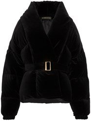 Alexandre Vauthier Cropped Belted Puffer Jacket Black