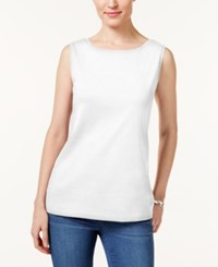 Karen Scott Boat Neck Tank Top Only At Macy's Bright White