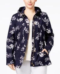 Charter Club Plus Size Floral Print Utility Jacket Only At Macy's Intrepid Blue Combo