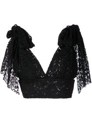 Bambah Tied Shoulder Triangle Top Women Polyester 12 Black