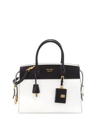 Prada Esplanade Medium Bicolor City Satchel Bag Black White Nero Bianco White Black
