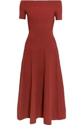Barbara Casasola Off The Shoulder Paneled Stretch Knit Midi Dress Merlot