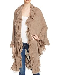 Minnie Rose Ruffle Cashmere Shawl Mink