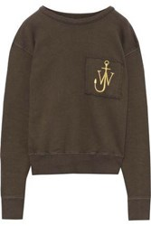 J.W.Anderson Woman Embroidered French Cotton Terry Sweatshirt Army Green