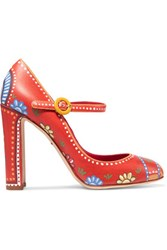 Dolce And Gabbana Printed Leather Pumps Orange
