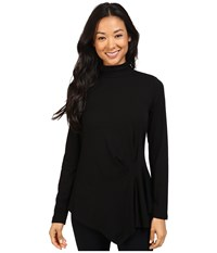 Vince Camuto Long Sleeve Turtleneck Side Ruched Top Rich Black Women's Blouse
