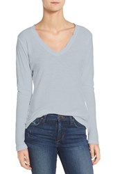 James Perse Women's Slub Cotton V Neck Long Sleeve Tee Blue Fog