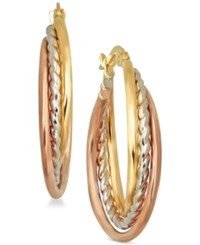 Macy's Tri Color Triple Hoop Earrings In 14K Gold And White And Rose Rhodium Plate Tri Tone