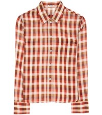 Miu Miu Plaid Cotton Shirt Red