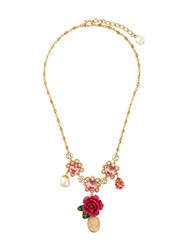 Dolce And Gabbana Cameo Crystal Rose Necklace Metallic