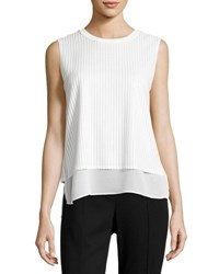 Vince Sleeveless Mesh Overlay Blouse Off White