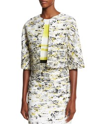Carolina Herrera Half Sleeve Open Front Cropped Jacket Black Yellow