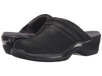 Softwalk Abby Black Oily Leather Women's Clog Mule Shoes
