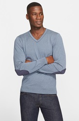 Paul Shark Long Sleeve Stripe V Neck Cotton And Cashmere T Shirt Navy