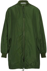 Vince Oversized Cotton Blend Shell Bomber Jacket Army Green