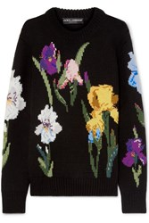 Dolce And Gabbana Embroidered Floral Intarsia Wool Sweater Black