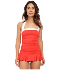 Lauren Ralph Lauren Bel Aire Shirred Bandeau Skirted Mio Slimming Fit W Soft Cup Coral Women's Swimsuits One Piece