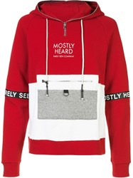 Mostly Heard Rarely Seen Patchwork Hoodie Red
