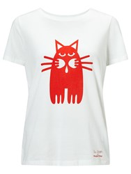 People Tree Cat Print T Shirt White Orange