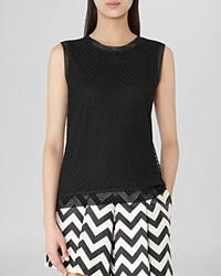 Reiss Tank Tasha Dotted Lace Overlay Black