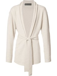 The Elder Statesman Shawl Lapel Belted Cardigan Nude Neutrals
