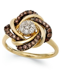 Wrapped In Love White And Champagne Diamond Knot Ring In 14K Gold 1 2 Ct. T.W.