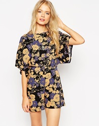 Asos Playsuit With Kimono Sleeve In Floral Print Multifloral