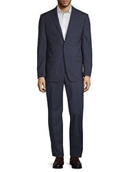 Michael Kors Slim Fit Mini Grid Wool Suit Blue