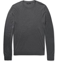 Theory Riland Stretch Silk And Cashmere Blend Sweater Charcoal